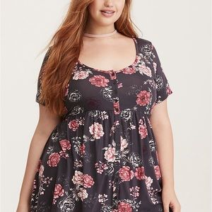 Torrid grey and pink floral tee size 2